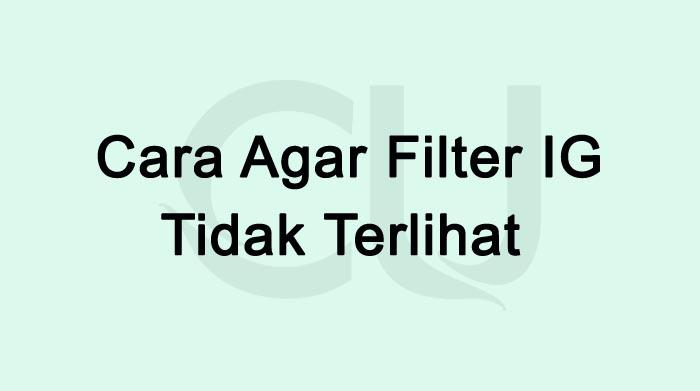 Cara Agar Filter IG Tidak Terlihat Terbaru 2021